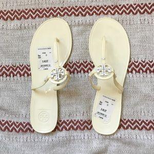 Tory Burch ivory flip flip sandals
